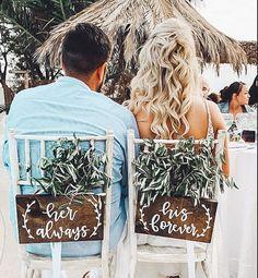 His forever & her always signs Cute Wedding Ideas, Western Wedding Ideas, Rustic Wedding Theme, Dream Wedding, Country Barn Weddings, Country Style Wedding, Rustic Bohemian Wedding, Different Wedding Ideas, Western Weddings