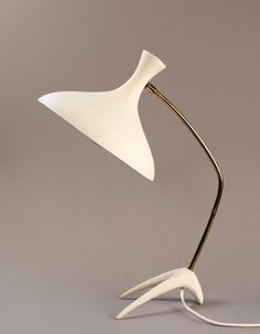 Louis Kalff; Brass and Enameled Metal Table Lamp, 1950s.