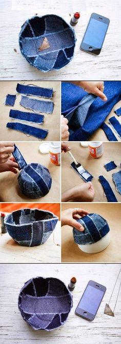 * Decoração e Invenção *: Cestinha jeans sem costuras - DIY