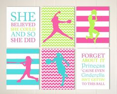 Girls room art, softball, softball pitcher, softball batter, girls sports art, girls quotes, monogram art, set of 6 custom colors and sports by PicabooArtStudio
