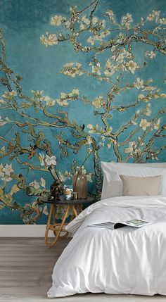 Our Almond Branches by Van Gogh Wallpaper is a depiction of one of the great artist's pieces. The blossoming buds painted by Van Gogh represent awakening and hope and we think you'll agree that it will make the most beautiful mural. This wallpaper mural goes beautifully in a bedroom or living room, and allows you to create a truly special space in your home. #wallpaper #murals #wallmurals #interior #interiordesign #design #home #homedecor #interiordecor #accentwall