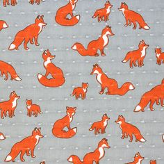 Fox Family on Gray Swiss Dot Cotton Voile Fabric - A exclusive designer score…