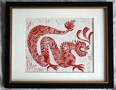 Cynthia Leven signed and numbered red dragon linoleum print