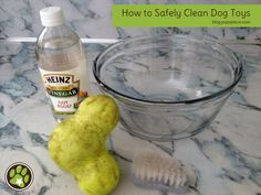 How to Safely Clean Dog Toys ~ Pour 1/3 cup vinegar into a large bowl  Fill the rest of the bowl with hot water  Let soak 15-30 minutes depending on how dirty the toys are  Scrub any remaining dirt off with a soft brush  Rinse in hot water and you're done!