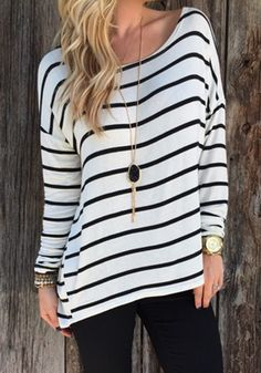 Going for chic and street-ready look? Wear this white striped tee with style by teaming it up with necklace, boots or a cute handbag. See more amazing items at Fichic.com !