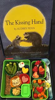 First Day of Grade - Kissing Hand lunch Toddler Meals, Kids Meals, Bento Box, Lunch Box, Lunch Recipes, Great Recipes, Back To School Lunch Ideas, The Kissing Hand, Food Themes