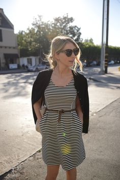 A striped t-shirt dress as worn by Emily Schuman of Cupcakes and Cashmere #stripes #fashion #moda
