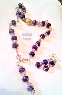 First full wire wrapped set!  Chinese Charoite and Lavender Crystals in Sterling Silver Plated Rose & Gold Copper wire #anzipanzdesigns #women #gemstones