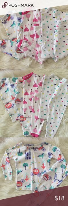 3 Sets of Pajamas (Size 18m) 3 Spring Pajama Sets (Size 18m)  3 sets of long sleeved, long pant pajama sets by Carter's.  🔸Ballerinas and princesses 🔸Colorful hearts 🔸Horses and carriages  Enjoy! Thank you 💕 (Not Hanna Andersson -- just for visibility!) Hanna Andersson Pajamas Pajama Sets