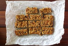 Granola Bars with Coconut, Currants and Almonds - Kitchen Konfidence ( Old-fashioned rolled oats Canola oil Nutmeg Sea salt Almonds Dried cu...