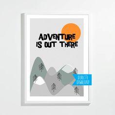 Poster adventure | kinderkamer jongen meisje | grijs oranje | direct downloaden | print aan de muur | grafisch ontwerp | kado babyshower door StudioNons op Etsy