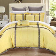 Chic Home Legend 11 Piece Comforter Set Color: Yellow, Size: Queen