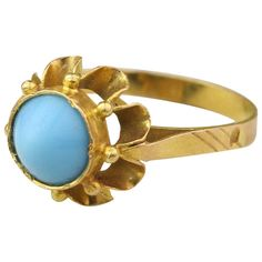 Turquoise and Gold Bullet Ring | From a unique collection of vintage cocktail rings at http://www.1stdibs.com/jewelry/rings/cocktail-rings/