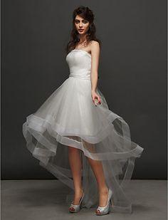 Vestido de Noiva Baile Sem Alças Assimétrico/Mullet (Tule) - BRL R$ 341,97
