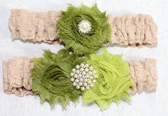 BRIDAL GARTER SET   Moss Green Garter Tan Lace Garter by itsmyday