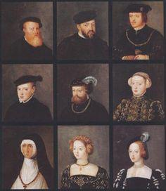 De izquierda a derecha y de arriba abajo (Entre paréntesis relación con el rey João III, marido de Catalina de Austria): 1. Luis, Duque de Beja y prior de Crato (Hno.) 2. João III; 3. Fernando, Duque de Guarda (Hno.) 4. Príncipe João Manuel, (Hijo) 5. Duarte, Duque de Gimaraes (Hno.), 6. Catalina (esposa) 7. Isabel de Bragança (Cuñada); 8. María Manuela (hija); 9. Beatriz (Hna.)