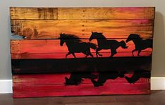 Horses Wood painting
