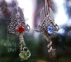 Colors of Proportion Key Necklaces by *KeypersCove on deviantART Key Necklace, Necklaces, Steampunk, Magical Jewelry, Vintage Keys, Chainmaille, Fascinator, Beautiful Rings, Jewelery