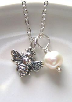Bee Charm necklace with freshwater pearl