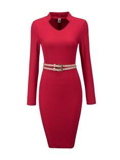 #AdoreWe #Fashionmia Fashionmia❤️Designer Womens V Neck Belt Plain Long Sleeve Split Bodycon Dress - AdoreWe.com