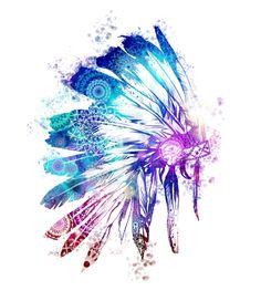 56e6ed3fbe4e1 war bonnet, watercolor, skull, boho, Indian, feathers, flowers ...