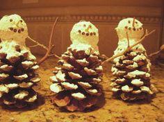 Pinecone Snowman Ornament | AllFreeChristmasCrafts.com