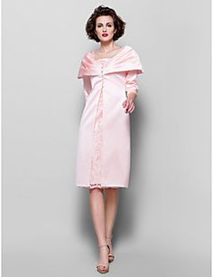 Lanting+Bride®+Sheath+/+Column+Plus+Size+/+Petite+Mother+of+the+Bride+Dress+-+Wrap+Included+Knee-length+3/4+Length+Sleeve+Lace+/+Satin+–+EUR+€+392.00