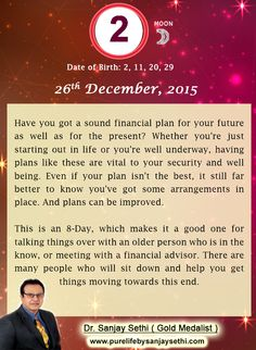 #Numerology predictions for 26th December'15 by Dr.Sanjay Sethi-Gold Medalist and World's No.1 #AstroNumerologist.