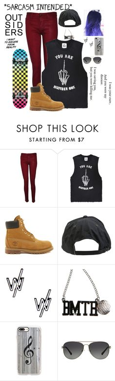 """""""Im in school and im bored af rn"""" by skatergurl58 ❤ liked on Polyvore featuring Hudson, UNIF, Timberland, Volcom, Casetify and Michael Kors"""