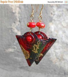 Christmas SALE Christmas Spirit Enamel Earrings by CandanImrak