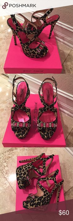 Betsey Johnson leopard heels with pink crystals Betsey Johnson leopard heels with pink and clear crystals. Like new, wear only shows on the bottom... may show normal wear. smoke free home, original box Betsey Johnson Shoes Heels