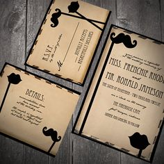 Vintage, mustache and lips wedding invitations!