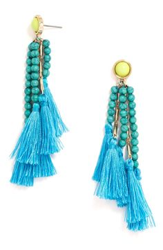 Adding bright colors this summer with these beaded drop earrings from BaubleBar.