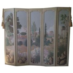 hand painted tuscan folding room divider screen 9855 dkk liked on polyvore featuring home home decor panel screens screens wooden room dividers
