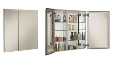 """Empire Industries MC3121B Broadway Broadway B Series 31"""" x 21"""" Medicine Cabinet by Empire Industries. $412.50. Empire Industries Medicine CabinetBroadway CollectionPerimeter BevelOverall Dimension 31"""" Width x 21"""" HeightRough Wall Opening: 30"""" Width x 20"""" HeightCabinet Body is 4"""" Deep3 Adjustable Glass ShelvesBack of Doors and Back of Cabinet are MirroredCabinet is ReversibleCabinet has Two Equal Doors"""