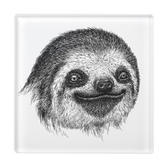 Illustrated Sloth Face Glass Coaster - home gifts cool custom diy cyo