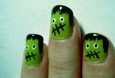 Halloween-nail-art - frankenstein