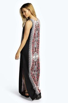 Lizzi Printed Column Maxi Dress at boohoo.com