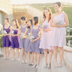 2. An All-Purple Party: Your bridesmaids' dresses can be just as affordable as that David's Bridal gown with Union Station, a bridesmaid (and groomsmen!) rental service that allows you to pick a color, annnny out of their 18 shades and 10 styles, long and short
