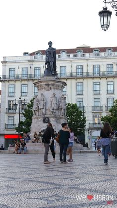 The iconic Cames square, in Chiado, one of Lisbon's most charming neighbourhoods. This square was built on the spot of what was once a beautiful palace destroyed by the 1755 earthquake.