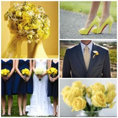 Love the navy blue bride's maid dress...not too crazy about yellow though