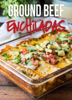 Easy Ground Beef Enchiladas Easy Hamburger Casserole, Beef Casserole, Casserole Recipes, Mexican Casserole, Easy Hamburger Meals, Ground Beef Recipes Easy, Beef Recipes For Dinner, Cooking Recipes, Steak Recipes
