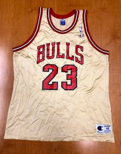 a163a704f0d4 Vintage 1998 Michael Jordan Chicago Bulls Champion Gold Jersey Size 48 nba  finals hat shirt scottie