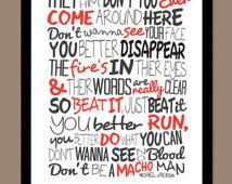 Michael Jackson - Beat It / Song Lyric Typography Poster