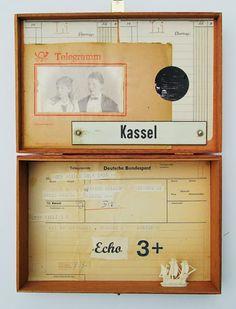 mano kellner, project 2013, kunstkiste nr 37, telegramm Art Boxes, Box Art, Diorama, Collage, Assemblages, Fantasy World, Creative Inspiration, Altered Art, Art Ideas