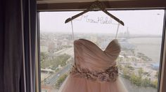 Another beautiful way to display your gown, your married name and a little added sparkle at the top!