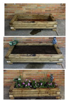 Our Home project! DIY flower bed!  6 landscaping timbers, plywood and nails