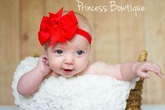 Baby Girl Headband Red Pinwheel: Baby Headbands & Hair Bows at Princess Bowtique