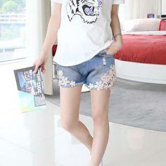 Бесплатная доставка летняя мода корейские Материнство Брюки для беременных Беременные кружева шорты джинсовые шорты ухода за беременными жен ...