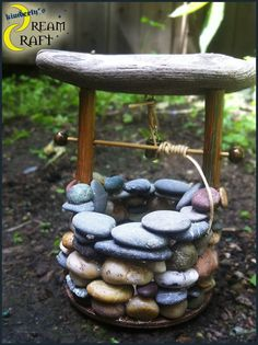 Wishing Well // Authentic Sea Glass or Stone Well  // Indoor/Outdoor  on Etsy, $35.00